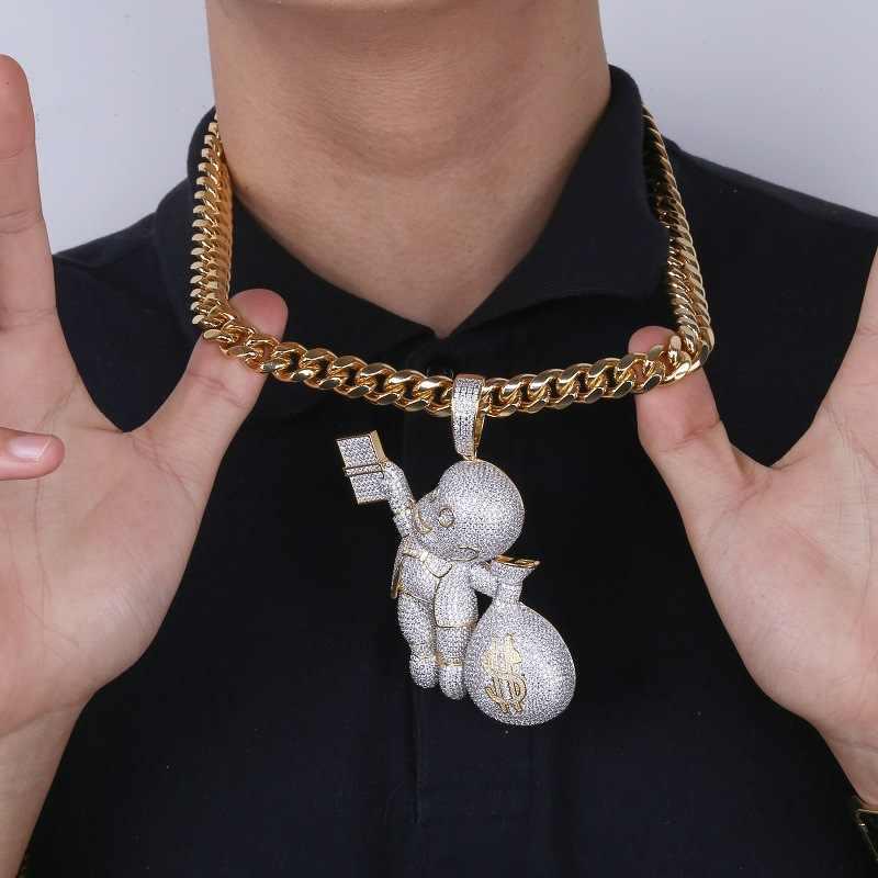 Hip Hop Bling ICE OUT AAA CZ หินสีทอง US Dollar เงินจี้สร้อยคอผู้ชาย Rapper เครื่องประดับ