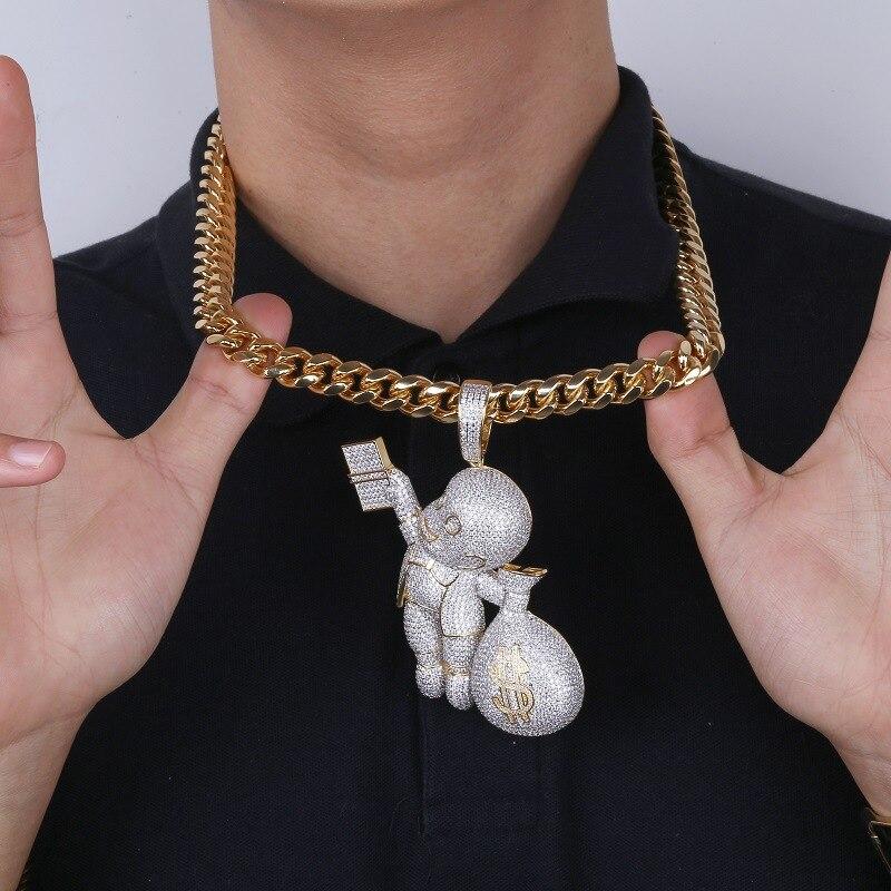 Hip Hop Bling Ice Out AAA CZ pierre couleur or US Dollar sac d'argent pendentifs colliers pour hommes bijoux de rappeur