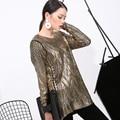 [soonyour] 2017 new loose big yards fashion style gilt-colored Sweatshirts round neck plus size long section Sweatshirts M0987