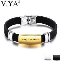 802a8fb7a V.YA Silicone Man Bracelets Fashion Individuality Stainless Steel DIY  Accessories Engrave Male Jewelry Charm Bracelets Drop Ship