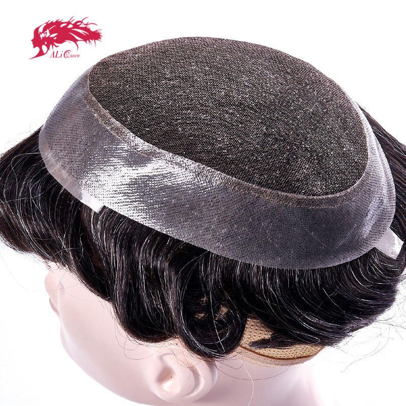 Ali Queen Hair Swiss Lace PU Toupee Replacement Systems Handmade Mens Toupee Hairpiece 100 Natural Remy