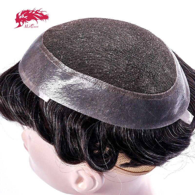 Ali reine cheveux dentelle suisse & PU toupet systèmes de remplacement à la main hommes toupet postiche 100% naturel Remy indien cheveux humains
