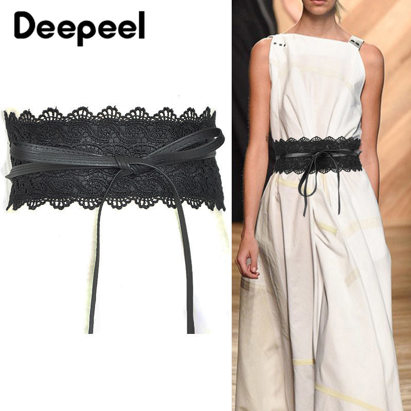 Deepeel 1pc Black Lace Wide Belts Faux Leather Elastic Waist Cummerbund Luxury Female Wedding Dress Waistband Cummerbunds CB001
