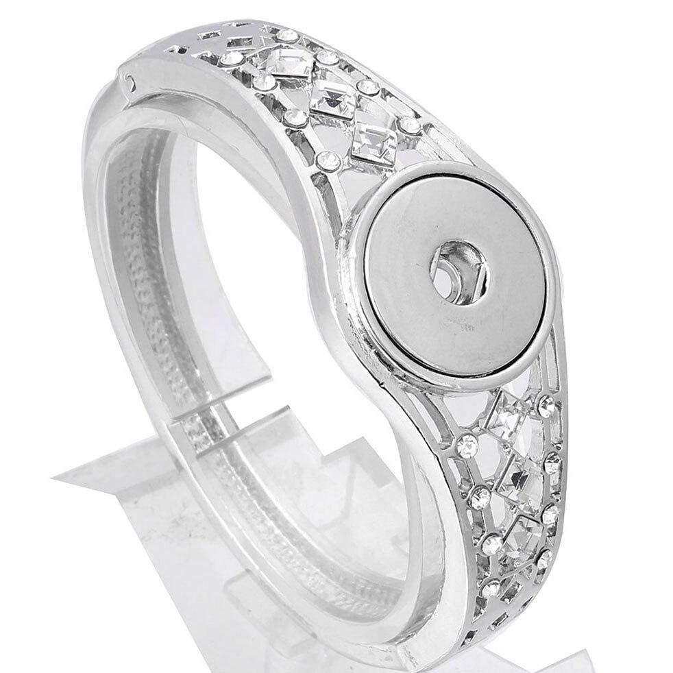 New High Quality Snap Button Bracelet Vintage Rhinestone Buttons Silver Snap Bracelet Bangle Button Bracelets 18mm Snaps Jewelry