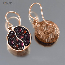 Romad Pomegranate Garnet Vintage Earrings Rose Gold Silver Long Dangle Red Stone Drop Jewelry For Women Girl
