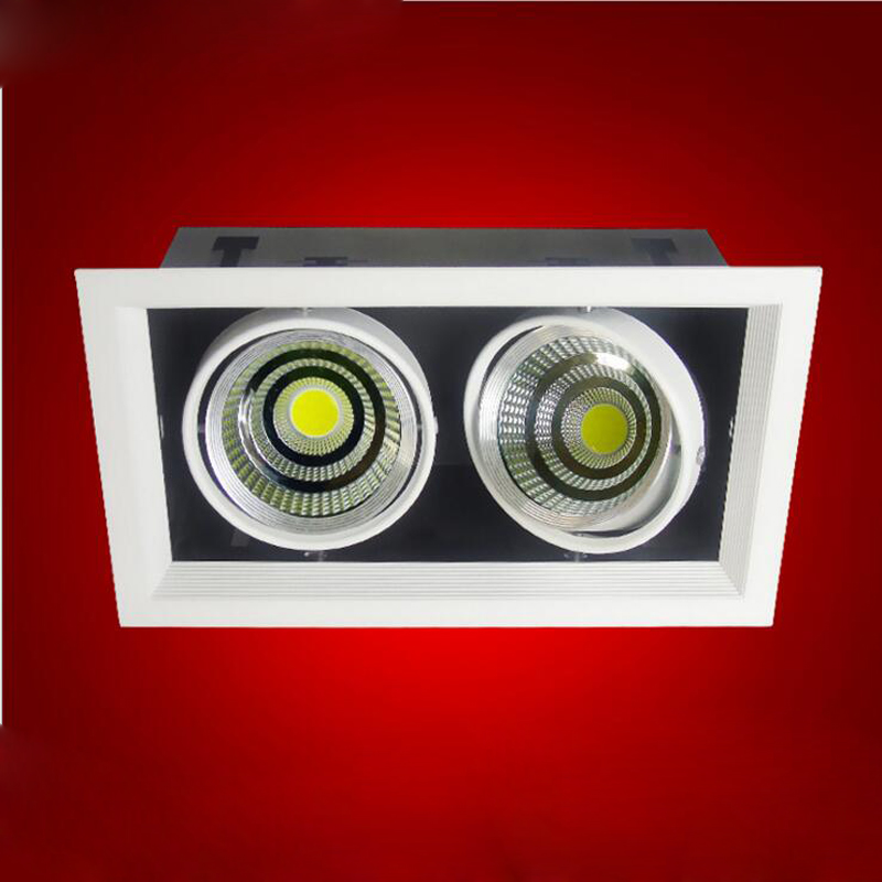 10pcs/lot Double Grille spotlight Dimmable Recessed LED downlight COB 2x12W 3x12w dimming led ceiling lamp AC85-265v 12w led grille lamp ac85 265v 210 210mm four heads recessed spots grille lights indoor commercial office led lattice lighting