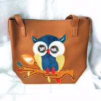 M510 Cute Character Fashion Hit Color Cartoon Printing Owl Shoulder Bag Big Size Women Gift Wholesale