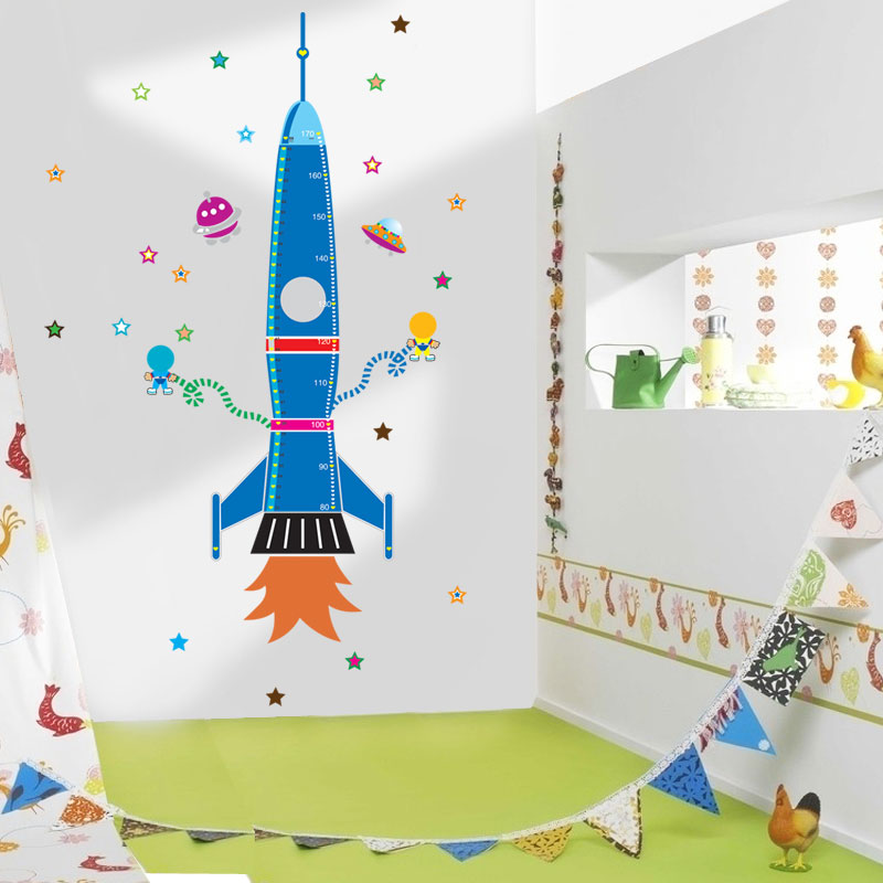 Vaisseau Spatial Fusee Croissance Toise Autocollants Enfants Chambre