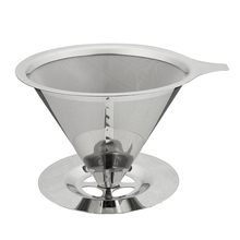 Double Layer Stainless Steel Coffee Filter Holder Pour Over Coffees Dripper Mesh Coffee Tea Filter Basket Tools(China)