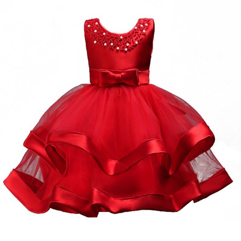 Brand Quality Baby Girls Princess Dress for Kids Beading Layered Party Flower Girls Dress for 3-8 Years Children Formal Vestidos