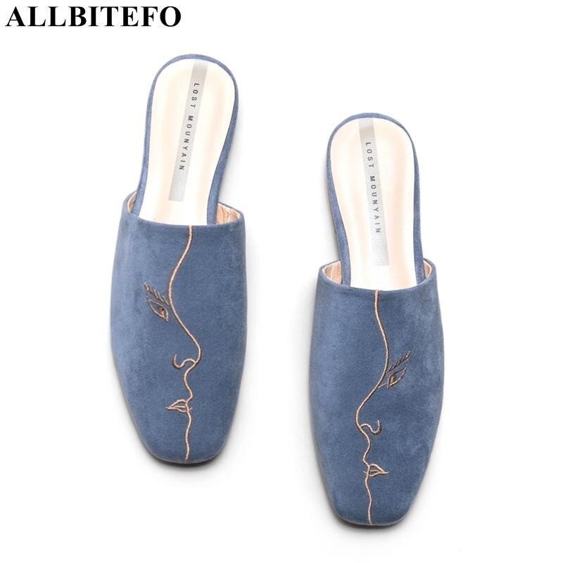 Allbitefo 전체 정품 가죽 낮은 굽 여성 신발 고품질 사무실 숙녀 신발 여름 여성 슬리퍼 여성 발 뒤꿈치-에서슬리퍼부터 신발 의  그룹 1