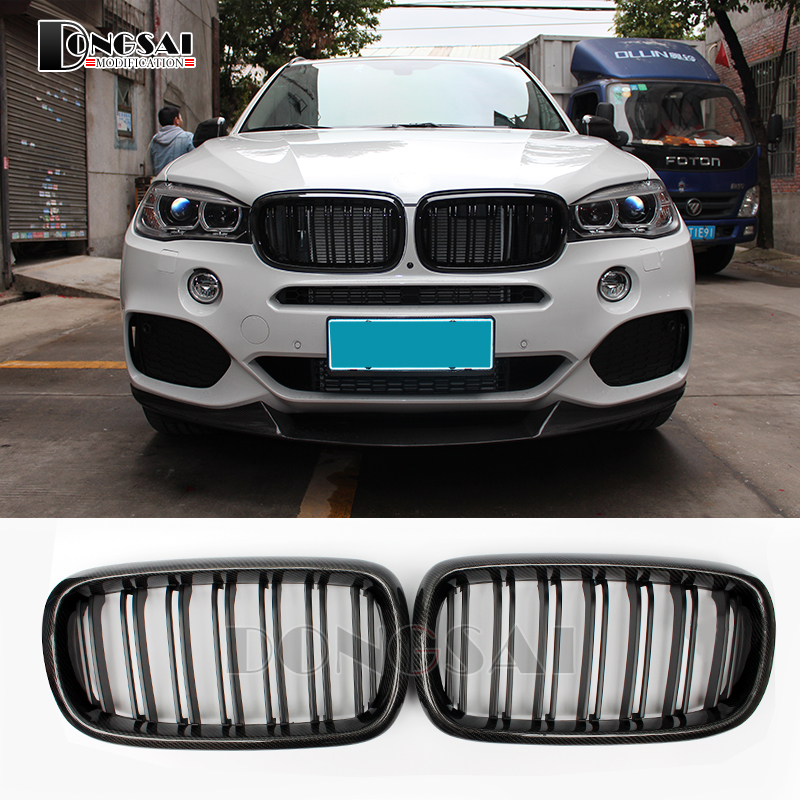 X5 F15 carbon fiber ABS kidney bumper grille for BMW X6 F16 2015 2016 2017 2018 x5 f15 x6 f16 abs gloss black grill for bmw x5 x6 f15 f16 front bumper grille kidney mesh