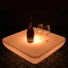 SK-LF28U(L62* W62* H21cm) Водонепроницаемый светодиодный барная мебель, стол светящийся квадратный журнальный столик для свадьбы 2 шт./лот