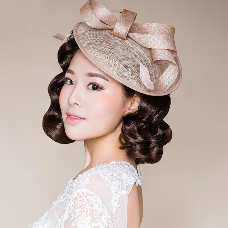 fe0ac97d Women Bridal Hat Linen with Feather Chic Wedding Hat and Fascinators Ladies  Hats headdress With Comber