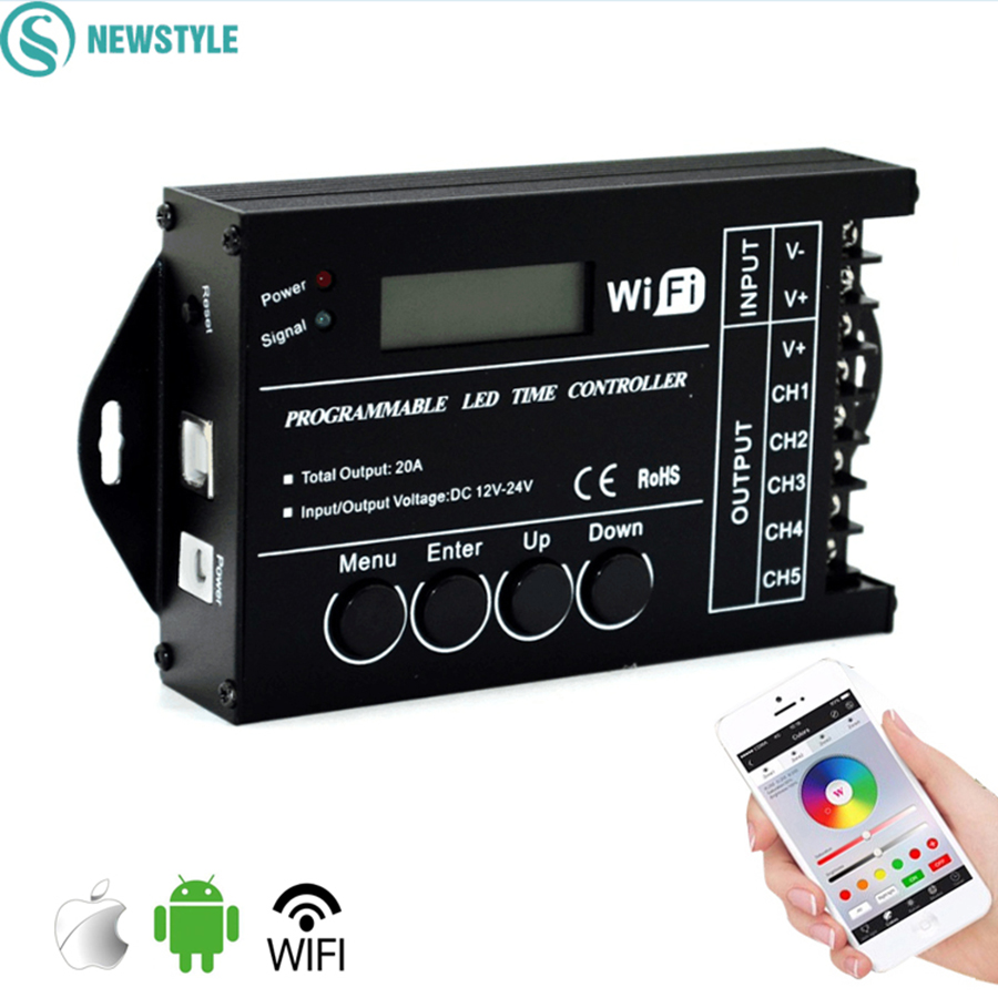 TC421 Led Controller Wifi Time Controller DC12 24V Programmable RGB Single Color Led Controller Via Phone APP and PC Client