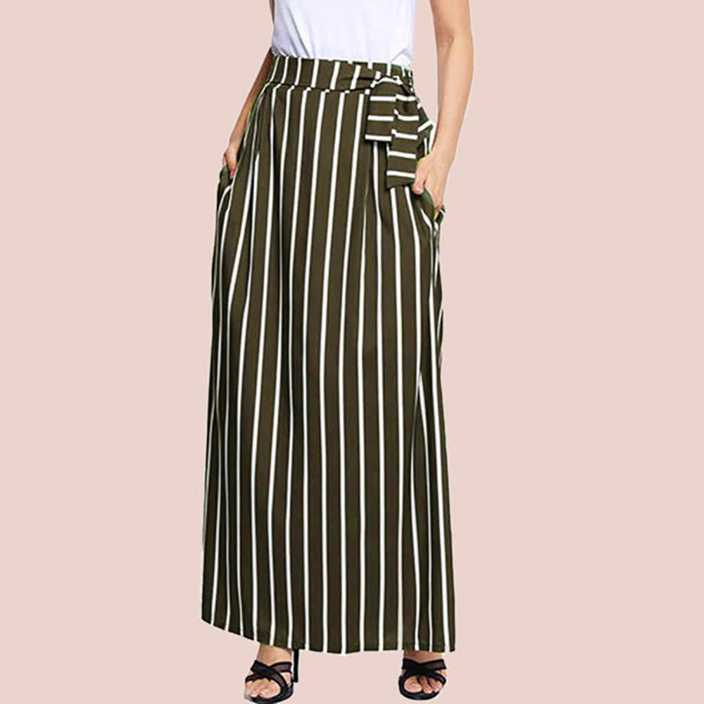 ... 2018 mujeres del otoño Falda larga elegante Colorblock rayas Maxi faldas  verano de alta cintura grande ... dac686209c48