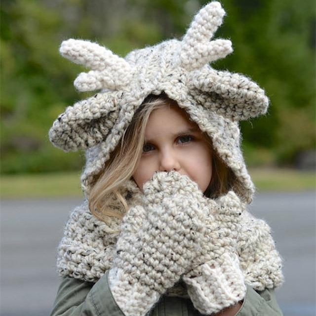 Baby Girls Winter Warm Hat+Scarf+Gloves Girls Christmas Reindeer Crochet  Warm Cap Kids Kniting Wool Hat D0449 6b5c3f79ded