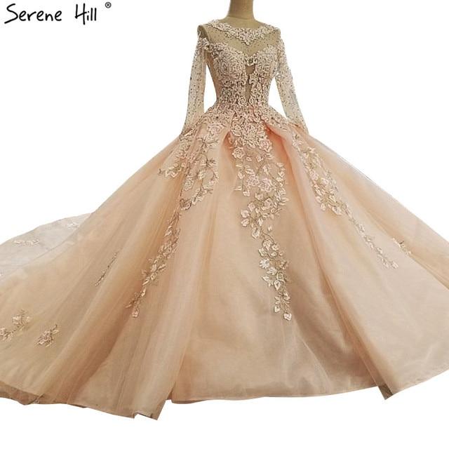 Pink High-end Long Sleeve Vintage Wedding Dresses 2019 Crystal Appliques  Fashion Luxury Bridal Gown Vestido De Noiva 2bc85ee6c5cc