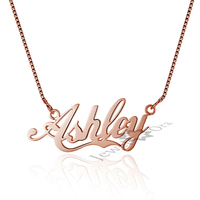 Girlfriend S Gift Rose Gold Personalized Name DIY Promise Necklace Custom 925 Sterling Silver Pendant Necklace