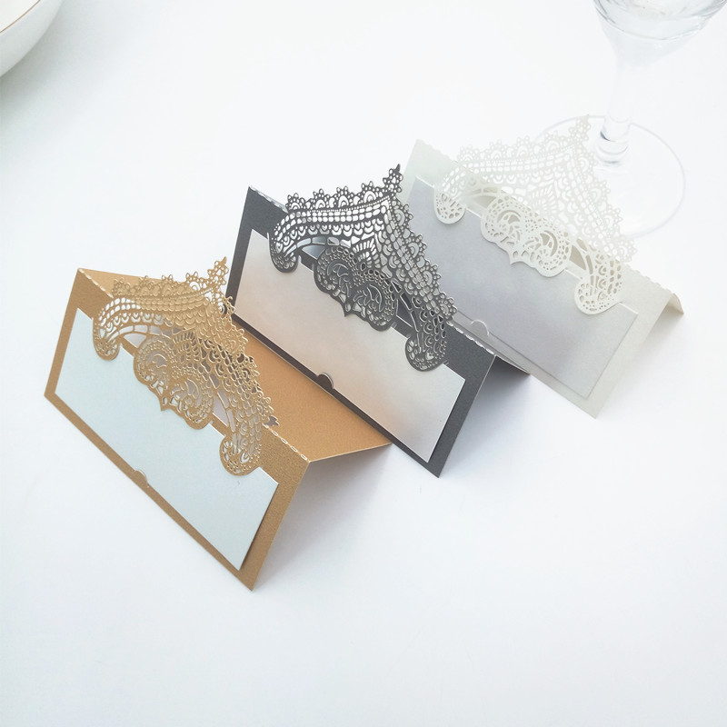 100Pcs Table Card Laser Cut Seat Cards For Wedding Party Favors Decoration Name Place Cards Crown Wedding Card Decoration 5ZZ49