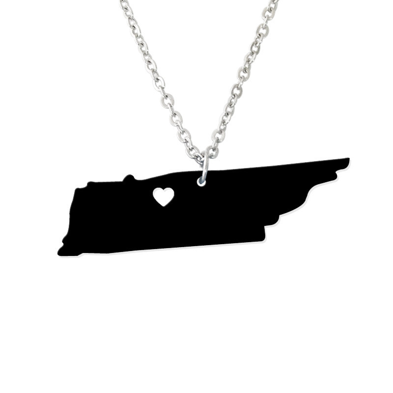 Custom Map Necklace -I heart Tennessee Map Pendant - State Charm TN Map Heart necklace-Personalized jewelry