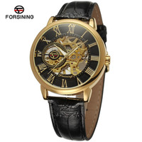 Forsining Mechanical Men Gold Hollow Out Auto Watches Men PU Leather Strap Wrist Watch Free Ship