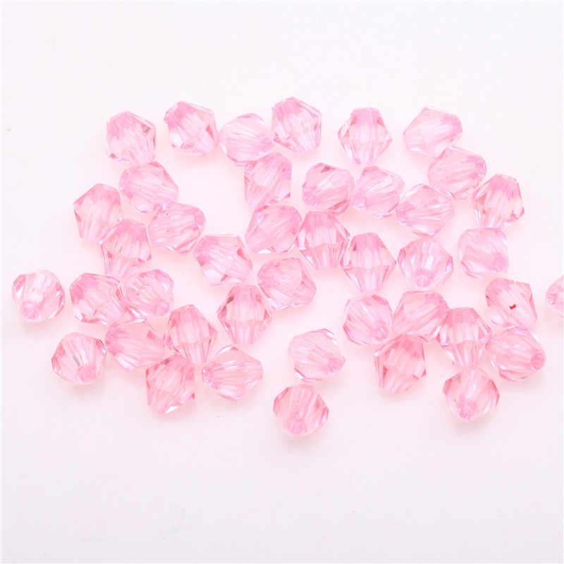 500 pcs 6mm Cores Doces Acrílico Enfrentou Cristal Spacer Beads Gota de Água Em Forma Bicone Tcheca Solta Pérolas Para Jóias tomada de Diy