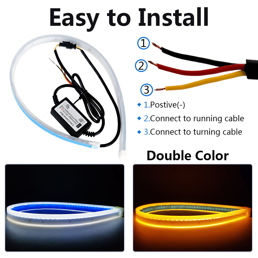 2PCS 45cm White Amber Flexible Car DRL Running Turn Signal Angel Eye LED Daytime Running Light Headlight Strip LED Light Strip in Car Light Assembly from Automobiles Motorcycles