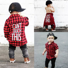 2019 New Toddler Kids Baby Boys Printed Plaid Shirt Long Sleeve New Fashion Back Letter Printed Children Clothes 1-7T