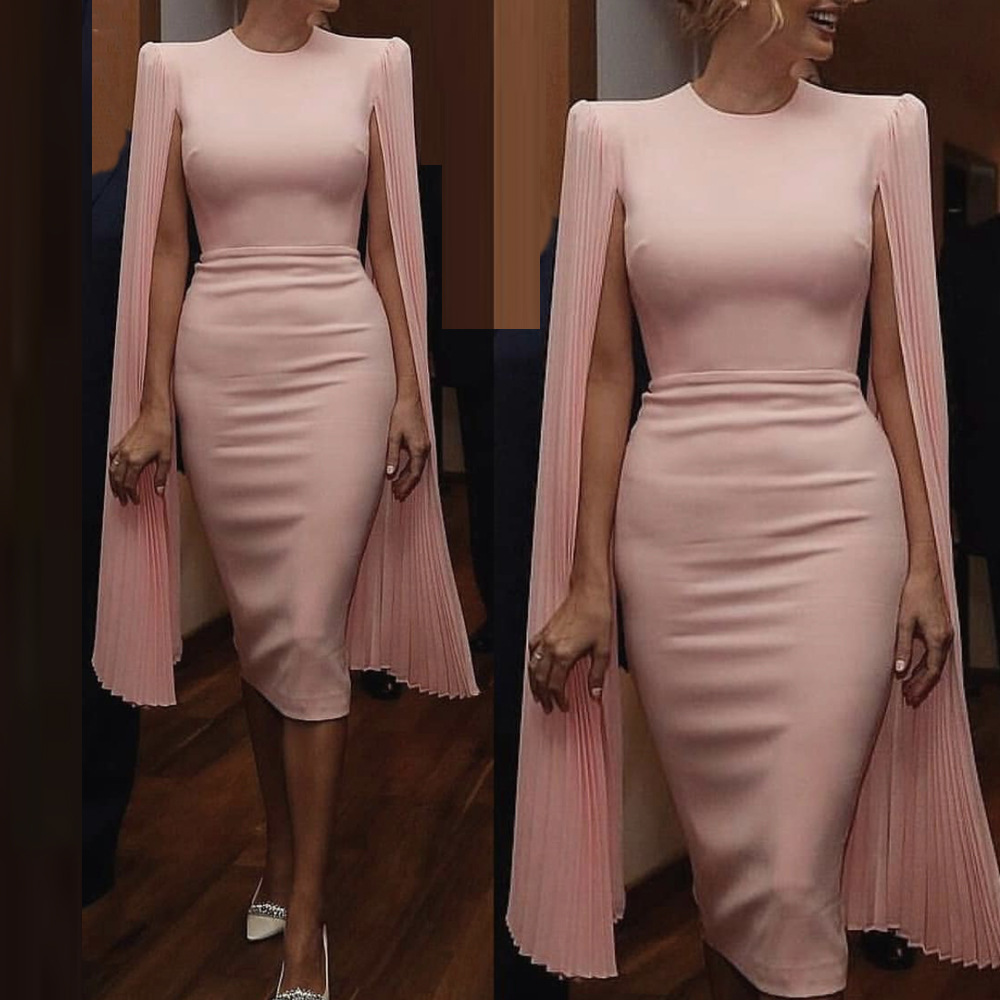 Pink Evening Dress Cocktail Homecoming Gown Pleated Long Flare Cape Sleeves Midi Dress O Neck Split Back Stretchy Dress