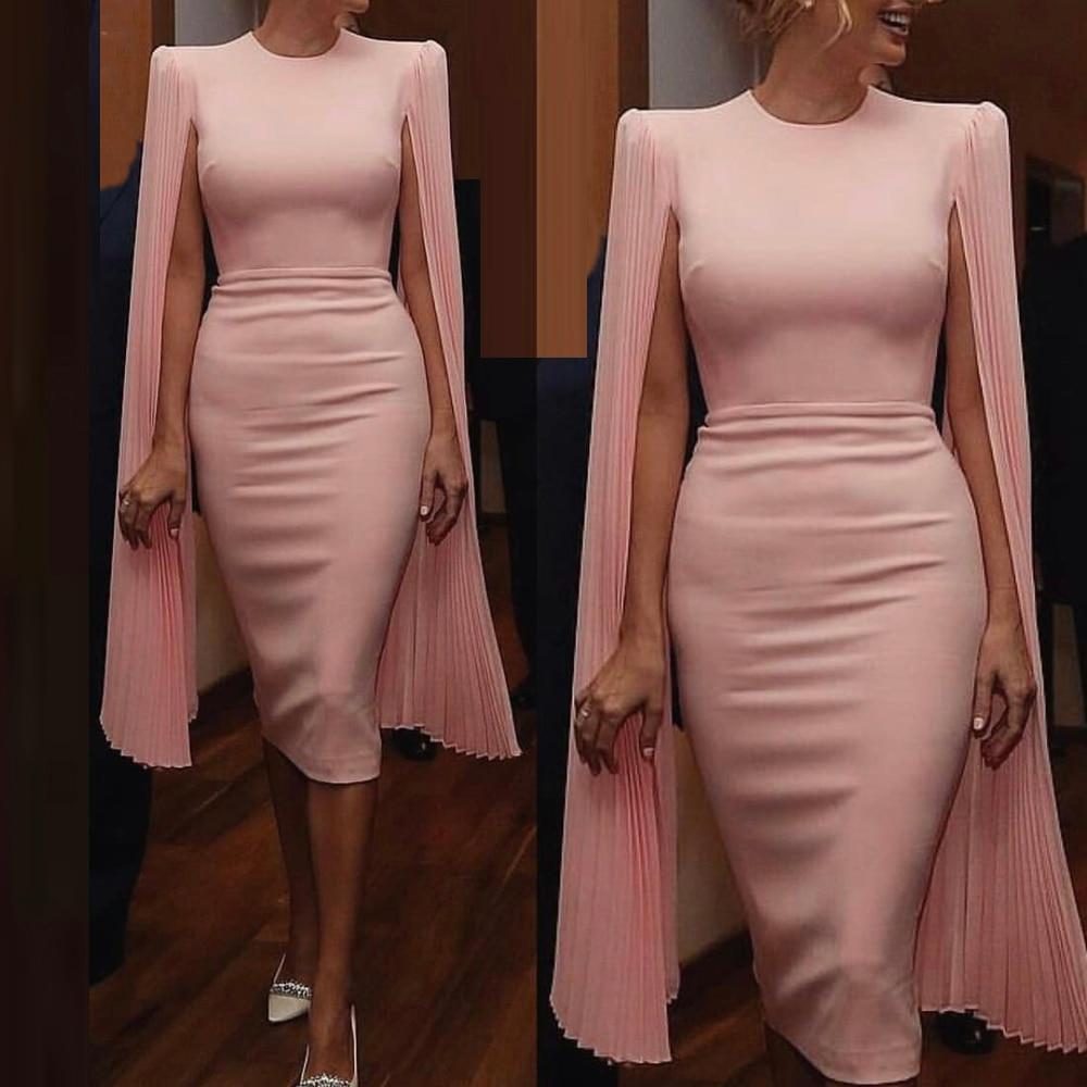 Pink Formal Evening Dress Pleated Long Flare Sleeve Midi Dress O Neck Split Back Stretchy Dress
