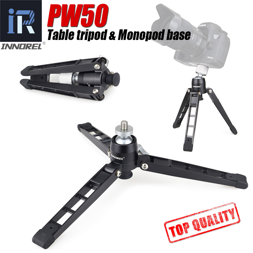 "PW50 Mini Tripod Universal Mini Three Feet Support Tripod Stand Base Monopod Stand For Unipod Ball Head With 3/8"" Screw Adapter"