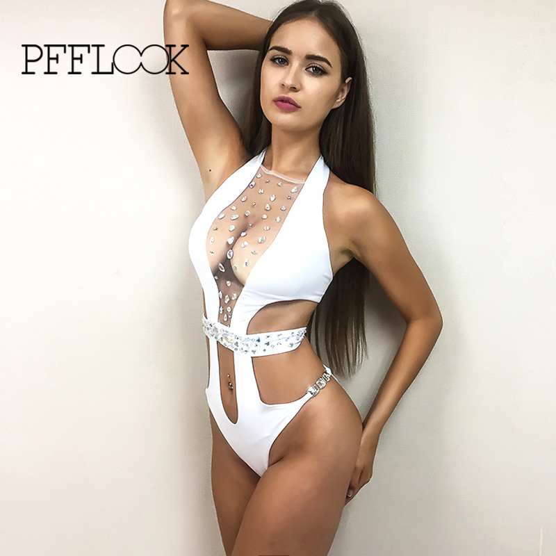 Pfflook 2017 Sexy Wrap Around High Waist One Piece Swimsuit Women Swimwear Gauze Bathing Suit Crystal Bow Bodysuit Romper Bather wrap around sizing label 33x32 250 stickers
