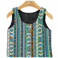 New Summer Women Beading Sleeveless Tank Crop Tops Colorful Stripped National Short Geometric Sequined Tops 2016