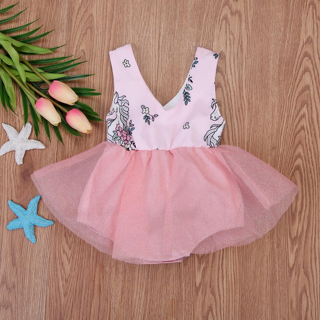 USA Newborn Baby Girls Unicorn Half Sleeve Tutu Lace Dress Skirt Romper Outfits