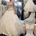 Dreamy diseño 2015 Vestido De bola De princesa lujo Crystal rebordear Vestido Halter ata para arriba Vestido De Noiva Vestido nupcial