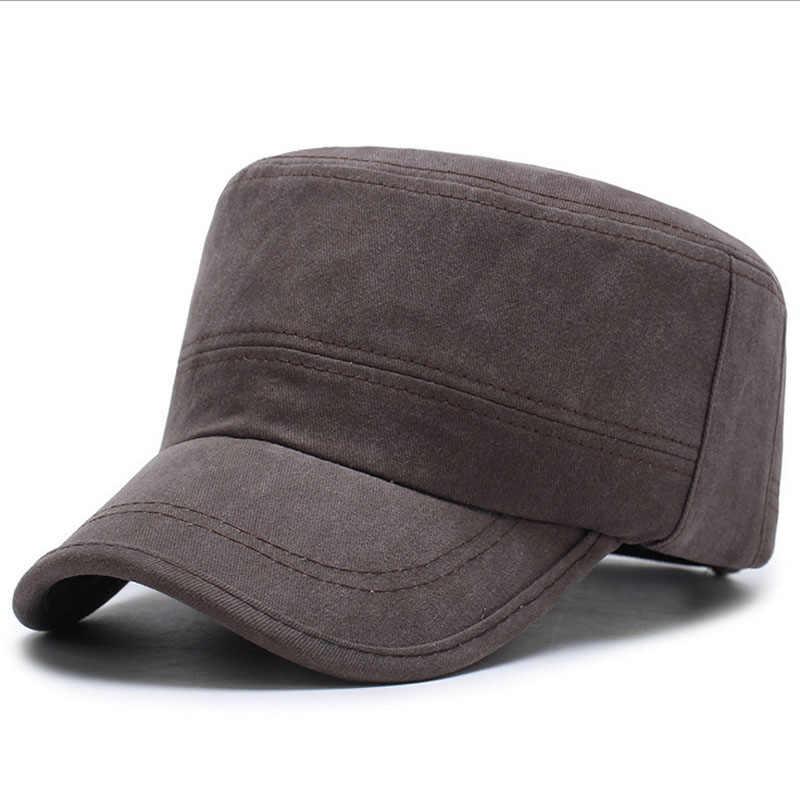 ... Rivets Style Men Flat Top Hats Cotton Snapback Flat Cap Army Cadet Hat  Women Baseball Cap ... 786460bcd900
