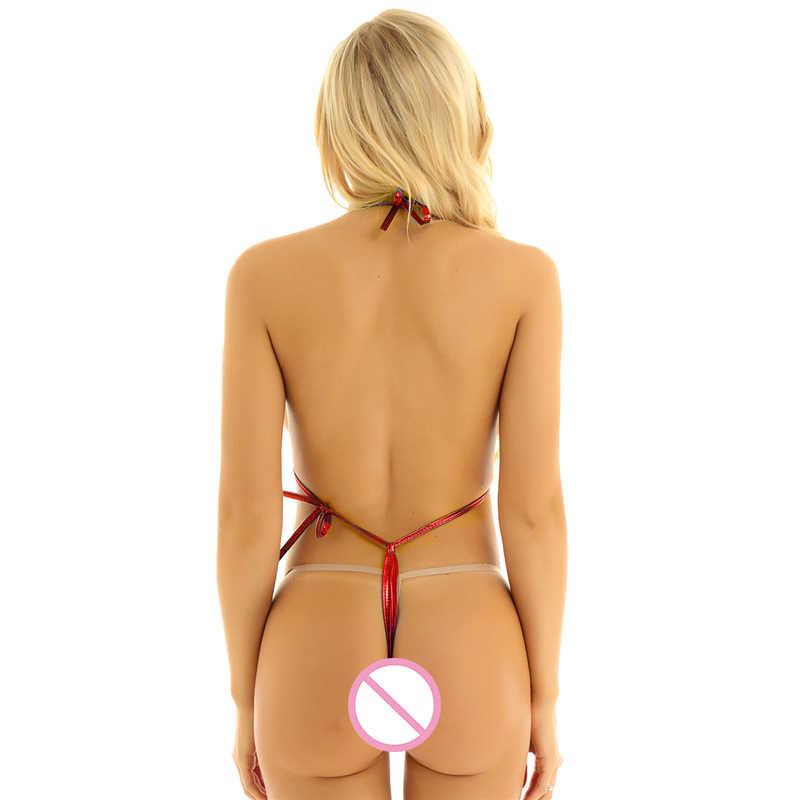 حار مثير النساء الملابس الداخلية مقلاع لامع قطعة واحدة Monokini مايكرو ثونغ g-سلسلة مطاطا ملابس داخلية بيكيني ملابس السباحة