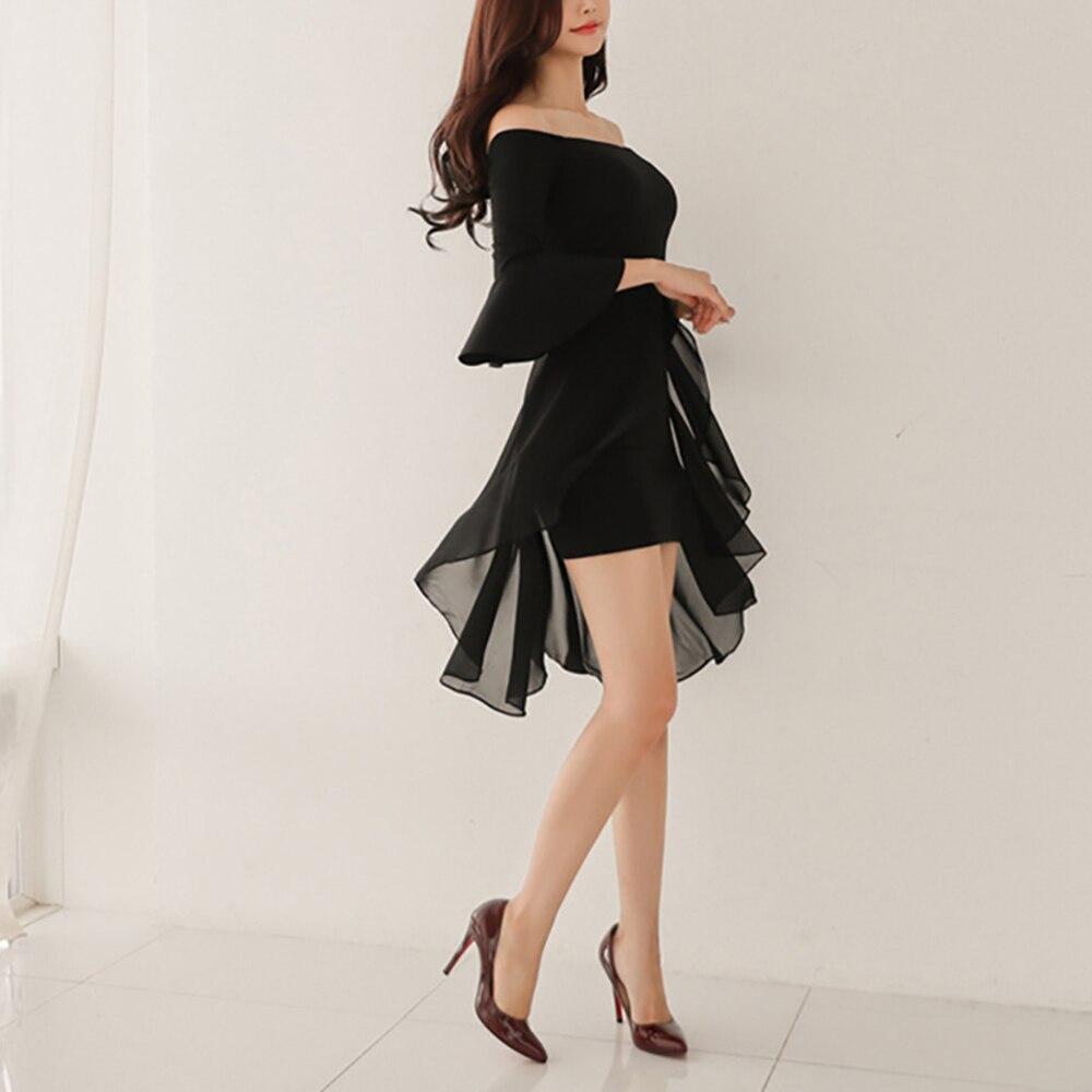 Slash Neck Flare Sleeve Mandarin Vestidos Women Sleeve Skinny Elastic Chiffon Mini Dress Party Formal Suit Black Solid Harajuku