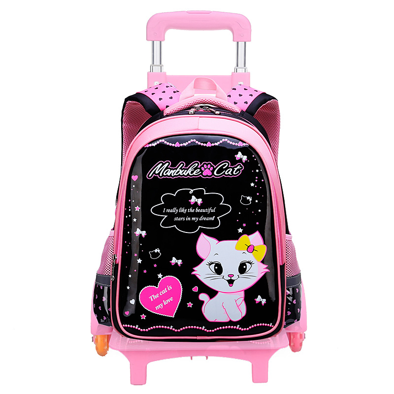 купить 2018 new Children Trolley School Bag Wheeled School Bag Grils Kids cat printing School trolley Backpacks Travel Luggage Backpack по цене 3363.16 рублей