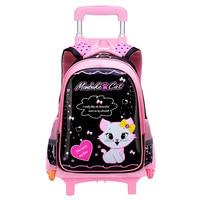 2018 new Children Trolley School Bag Wheeled School Bag Grils Kids cat printing School trolley Backpacks Travel Luggage Backpack