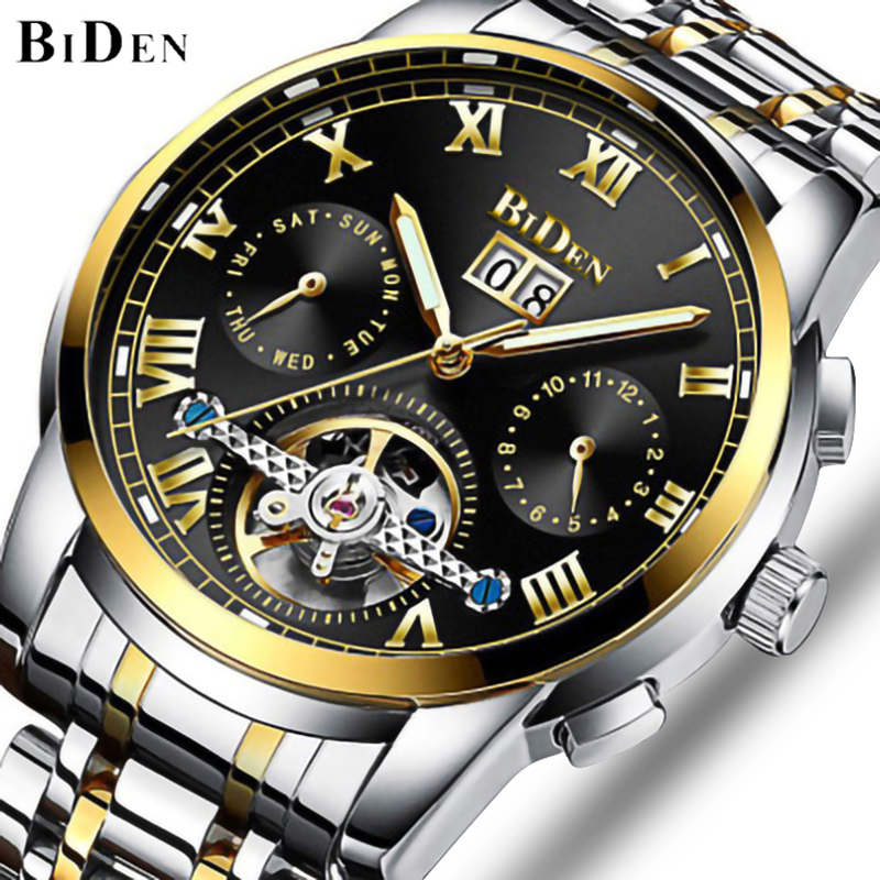 BIDEN montre mécanique hommes automatique Tourbillon squelette montres de luxe affaires montre-bracelet à remontage automatique horloge étanche