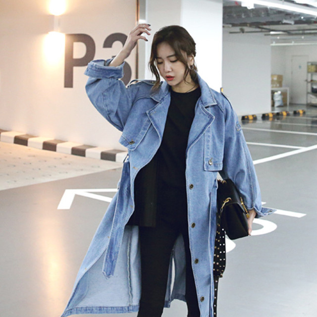 9cf951a6009 OYCP 2018 Long Denim Coat women spring korean Plus size Loose Denim Long  Trench Coat women