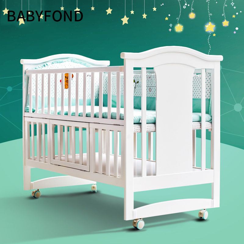 Baby Cribs Multifunctional Solid Cradle Bed Collapsible Mosquito Net Roller Baby Bed Newborn
