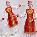 Traje de la danza femenina del diseño largo de falda de la extensión vestido con túnica mongolia Danza Folk Chino