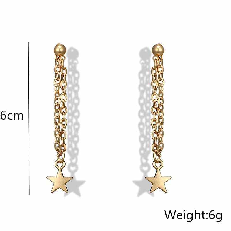 Estrela pendurado brincos longo corrente borla pentagrama lantejoulas brincos para as mulheres orelha do parafuso prisioneiro ouro cor simples moda jóias