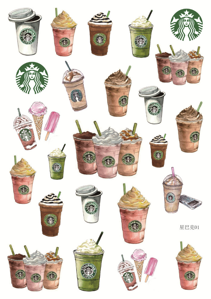 Uncut A5 Starbucks Decorative Sticker Set Diary Album Label Sticker DIY Scrapbooking Stationery Stickers Escolar spring and fall leaves shape pvc environmental stickers decorative diy scrapbooking keyboard personal diary stationery stickers