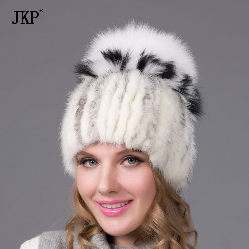 Женская шапка, зимняя меховая шапка из натуральной норки с лисьим мехом, модный стиль, хорошее качество, женская брендовая теплая шапка, DHY 25