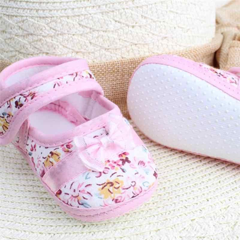 2019 السعر المنخفض بيع 2019 طفلة لينة وحيد Bowknot طباعة المضادة للانزلاق حذاء كاجوال طفل حذاء طفل صغير حذاء طفل 20
