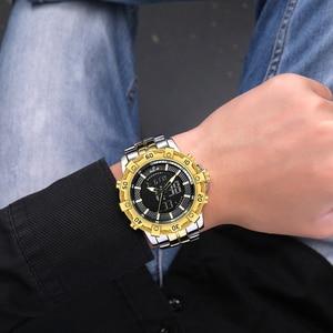 Image 5 - GOLDENHOUR роскошные Цифровые и аналоговые часы, мужские спортивные водонепроницаемые кварцевые наручные часы с двойным дисплеем, модные мужские часы